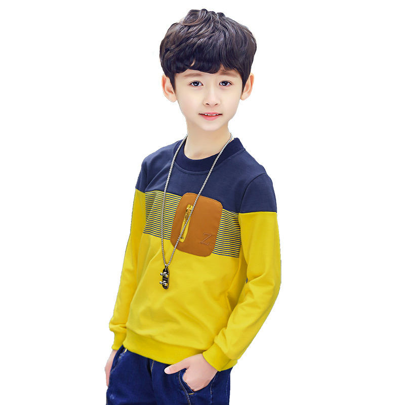 2018 spring autumn long sleeve tshirt striped patchwork toddler girls top tees children boys t shirt cotton 4-13T boys clothing