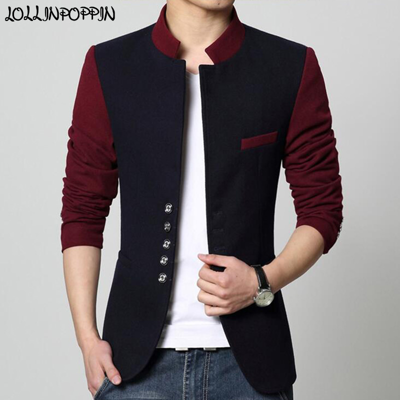 Stand Collar Men Blazer Chinese Suit Jacket Contrast Color Patchwork Casual Jacket Single Breasted Mens Tunic Jacket