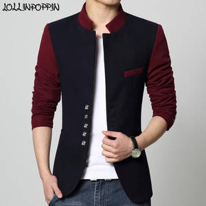 Suit Jacket Tunic Stand-Collar Men Blazer Patchwork Mens Casual Chinese Single-Breasted
