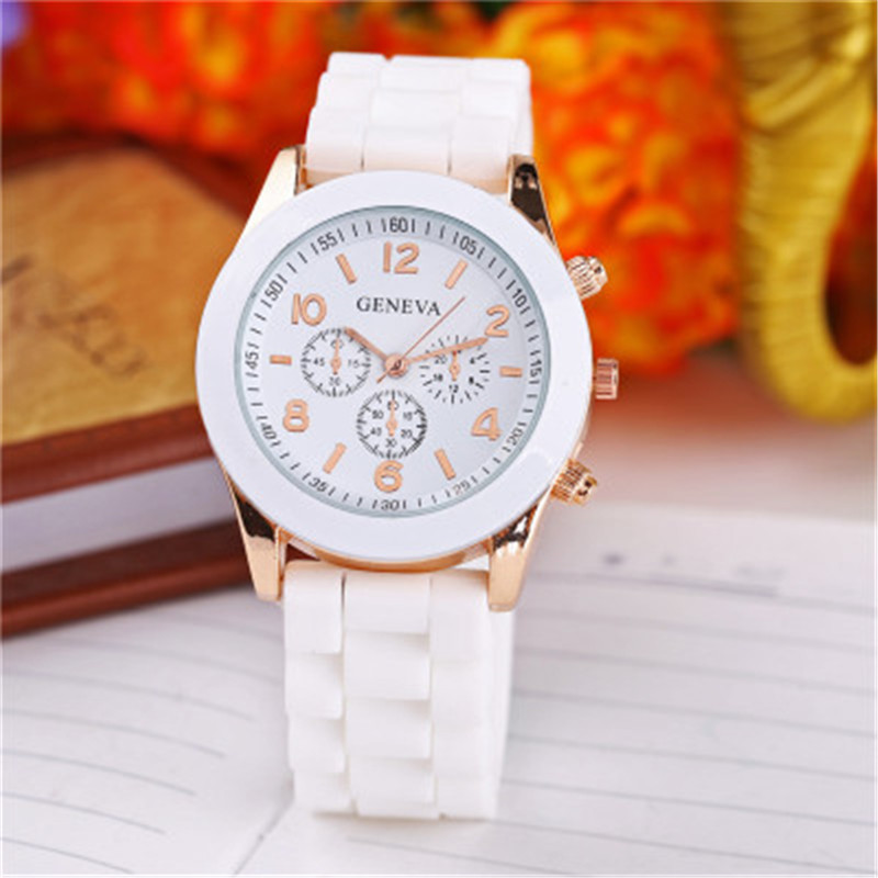Geneva Casual Watch Women Dress Watch 2017 Quartz Military men Silicone watches Unisex Wristwatch Sports watch relogio feminino fashion brand hba leather strap unisex watches men quartz women dress watch sports military relojes geneva wristwatch 5101301q