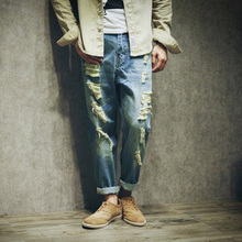 2017 мужская мода повседневная хлопок Отверстие джинсы мужские осень плюс размер плюс размер danim мужской свободные нищий гарем джинсы