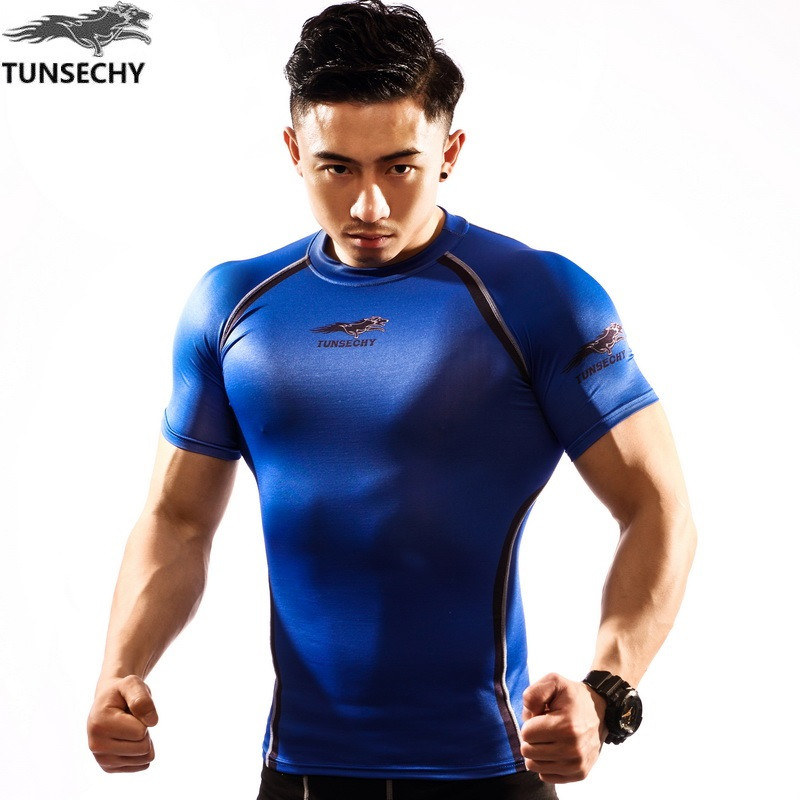 Hot sale 2017 brand tight t-shirts wear short-sleeved lifting muscle man compression sides fitness base layer T-shirt printing