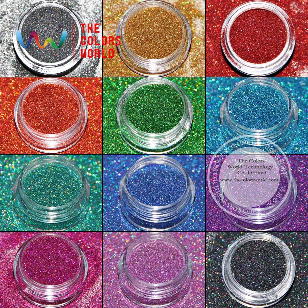 TCT-019 Color láser (12 colores holográficos de tipo) Forma hexagonal Tamaño 0.1 mm Brillo para uñas arte en gel, maquillaje y decoración de bricolaje