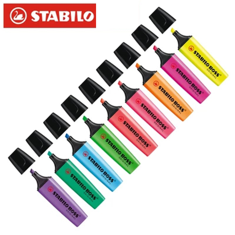 1pcs Germany Stabilo Highlighter Pen Boss BOSS Color Marker Strokes Focus Notes Pen