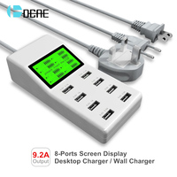 8 Ports USB Charger Travel Charger LCD Digital Display Smart Charging Station Multi Port USB Charging