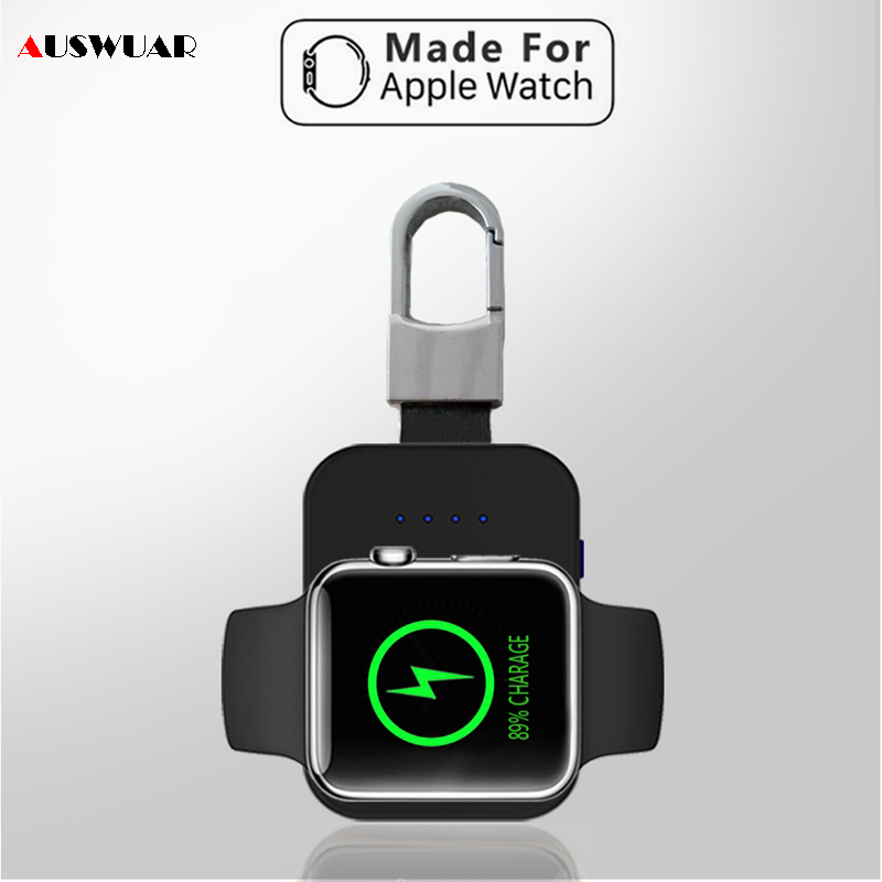 QI Drahtlose Ladegerät Power Bank für iWatch 1 2 3 4 Tragbare Mini Drahtlose Ladegerät Externe Batterie Pack KeyChain für apple Uhr