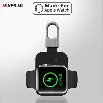 QI Wireless Charger Power Bank สำหรับ iWatch 1 2 3 4 มินิแบบพกพาภายนอกแบตเตอรี่พวงกุญแจสำหรับ Apple Watch wireless Charger