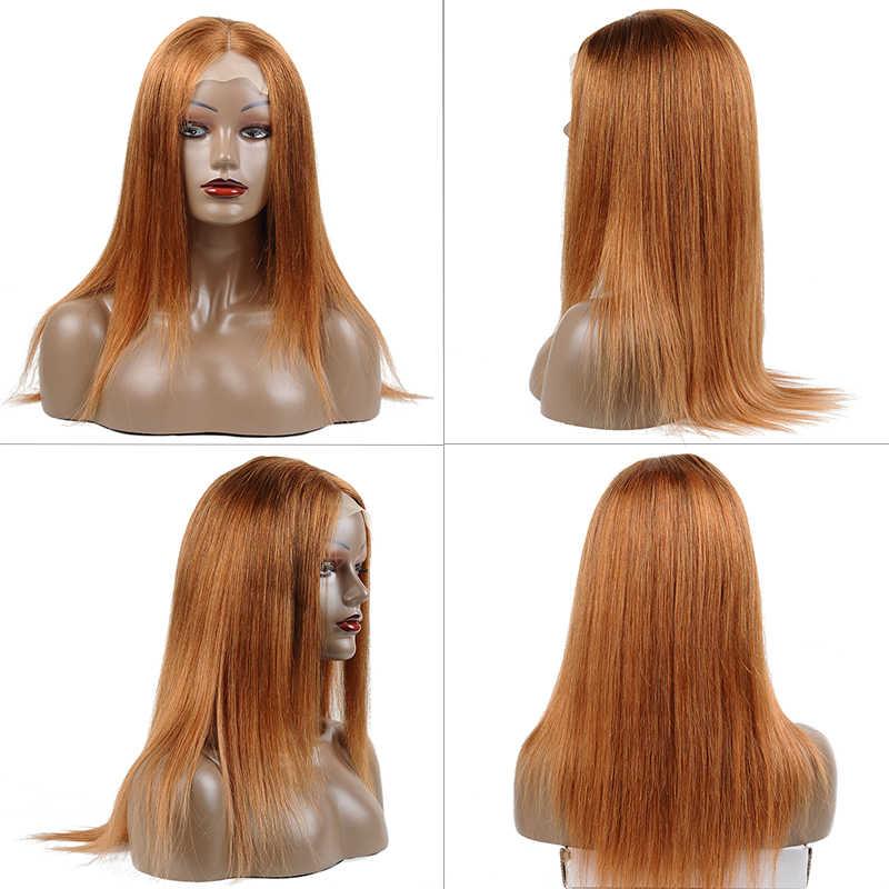 Remyblue, блонд, парик для фронта шнурка, прямые волосы, человеческие волосы, парики, предварительно сорванные 30, оранжевый, перуанские, Реми, человеческие волосы, парики