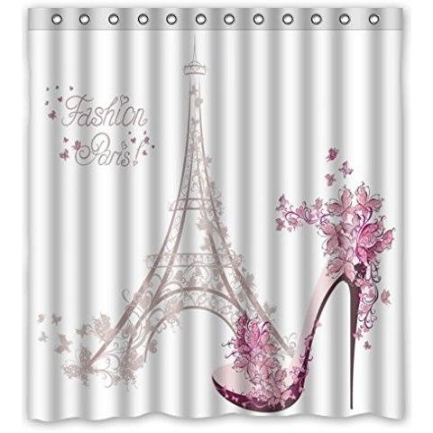 66Wx72H Inch Waterproof Bathroom Paris Eiffel Tower Shower Curtain