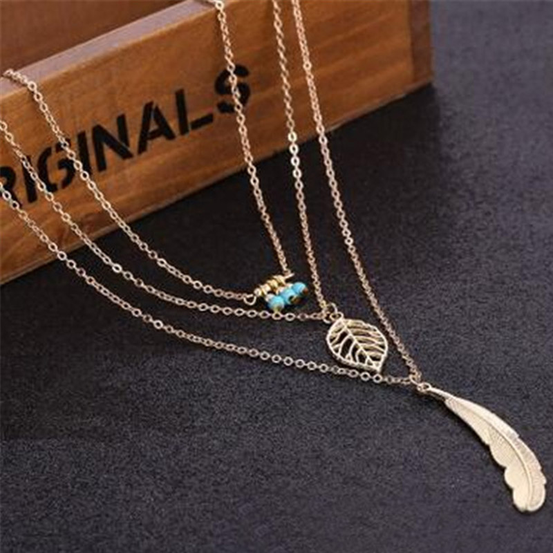 Simple-Multilayer-Necklace-Leaf-Beads-Feather-Pendant-Choker-3-Layer-Chain-Necklace-CX17 (2)