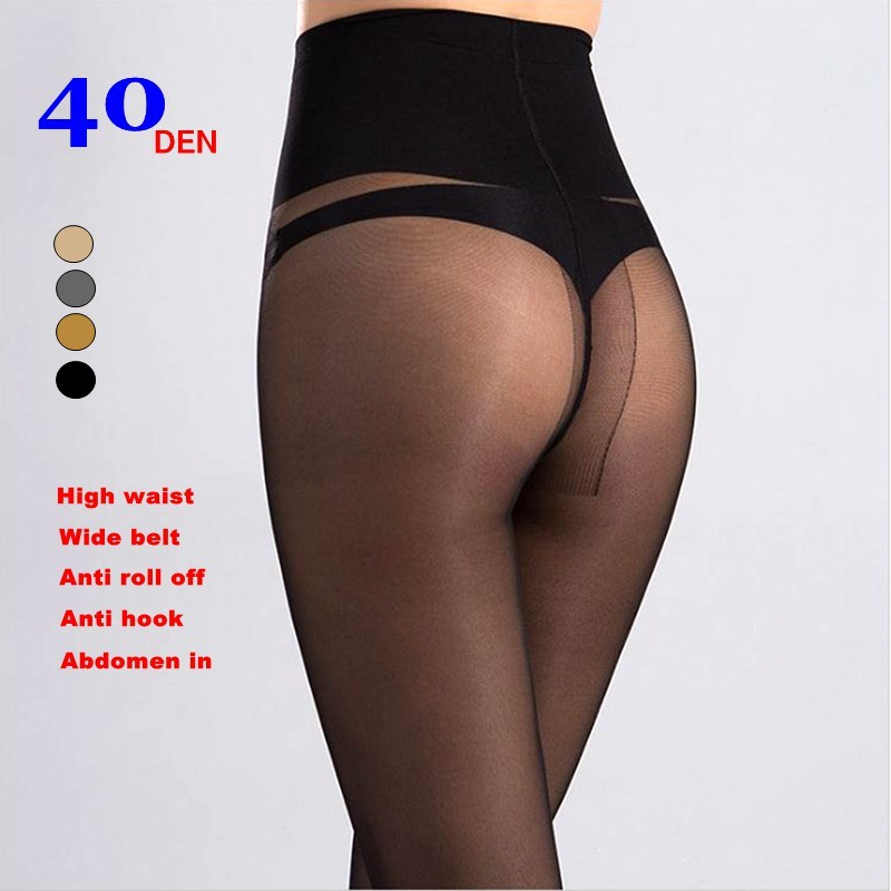 Women T-crotch 40D Velvet High Waist Wide-belt Anti Roll-off Slimming Legs Pantyhose,anti Hook Tights,M-L