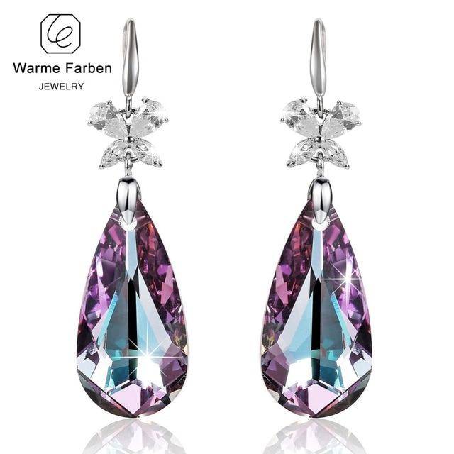 Warme Farben Crystal From Swarovski Earrings For Women Luxury Amethyst Waterdrop Dangle Earring Party Drop