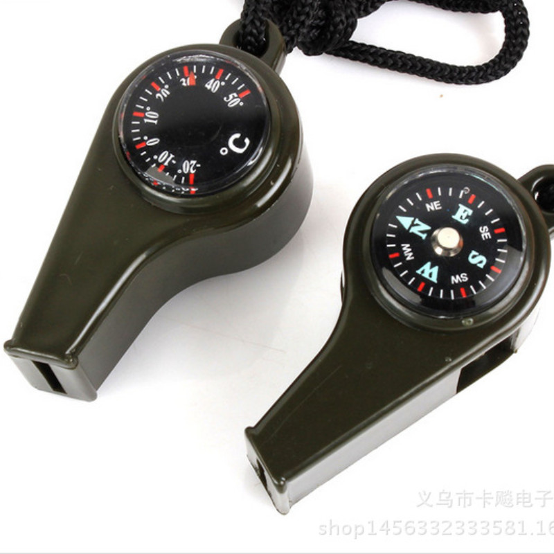 2pcs 3 In 1 Compass Thermometer Survival Whistle First Aid Kits Outdoor Emergency Signal Rescue Camping Hiking Outdoor Practical