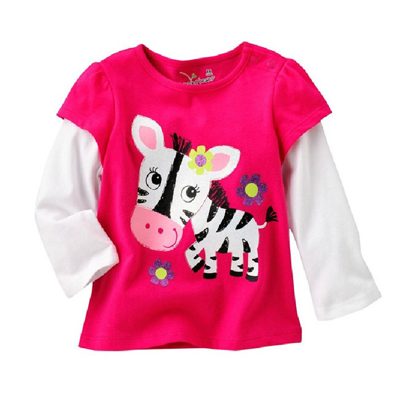 2018 Girls T shirt long sleeve cartoon children clothes knitted cotton baby girls clothes tops tees kids brand jumping meters 2016 girls clothes floral pattern long sleeve children tops for girls white baby girls tees casual toddler girls t shirt
