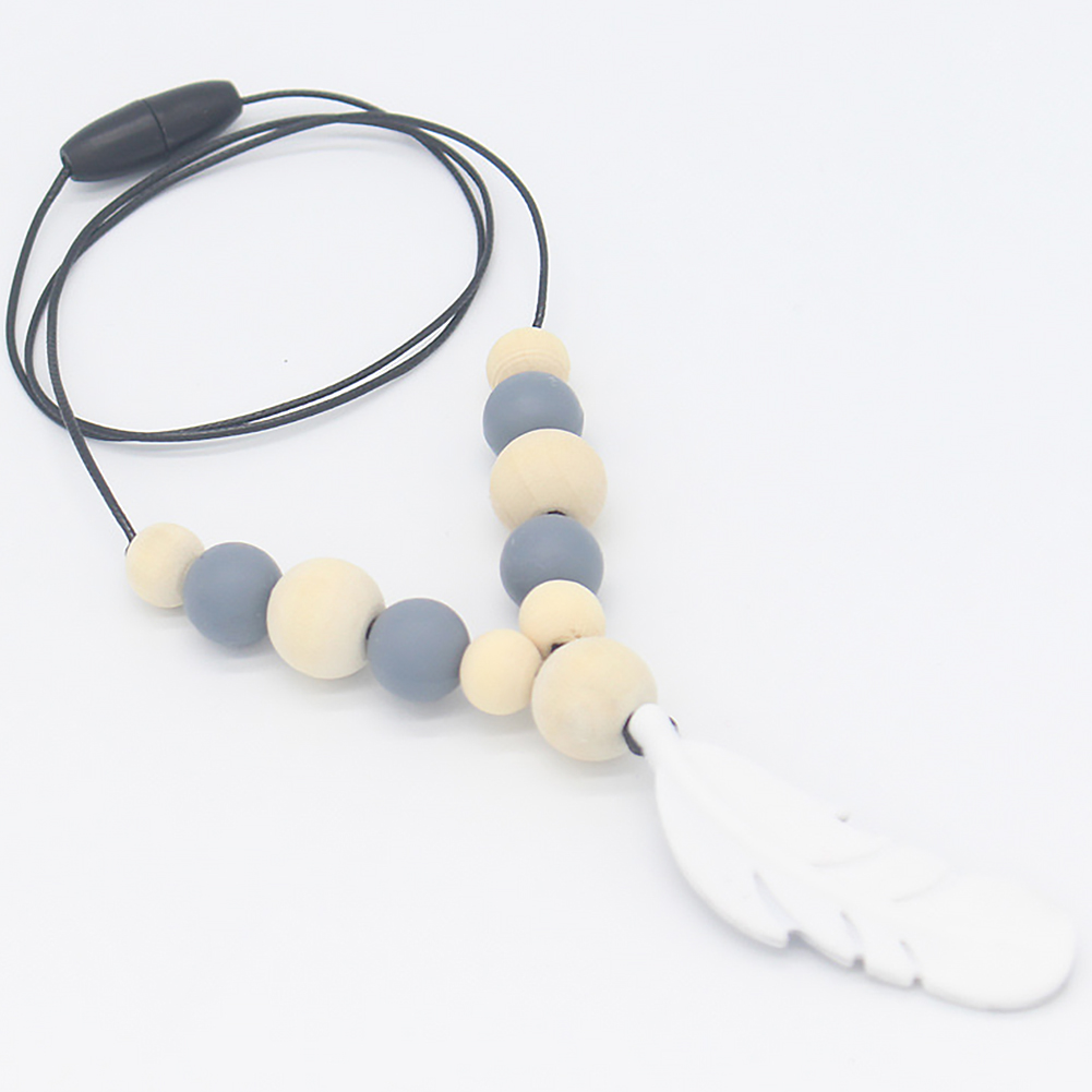 Baby Silicones Teether Chain Charm Feather Beads Necklaces Teething ToyJewelryVQ