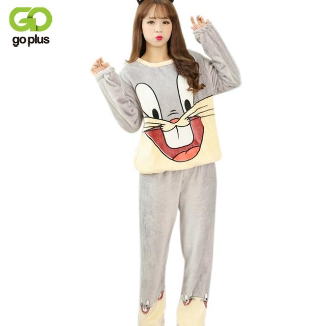 1b69364c35 GOPLUS Women s Pajamas Autumn   Winter Flannel Pajamas Rabbit Women Long  Sleeve Sleepwear Lovely Tops Pants