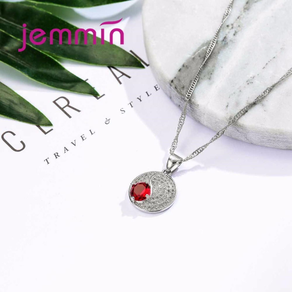 HTB1VNaEab EK1JjSZFBq6y0HVXah Simple Style Round 925 Sterling Silver Necklaces Earrings Jewelry Set With Fine Red Crystal For Women Lady Party