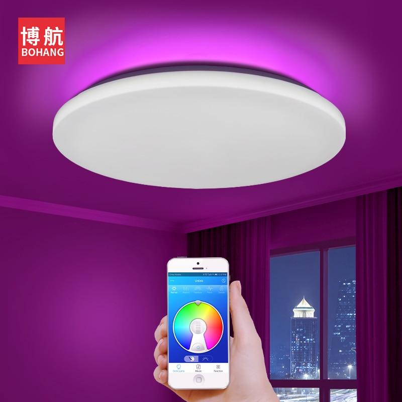 Современный светодиодный умный потолочный светильник с управлением через приложение RGB затемнение 36W48W Bluetooth динамик AC85V 265V, светодиодный по...