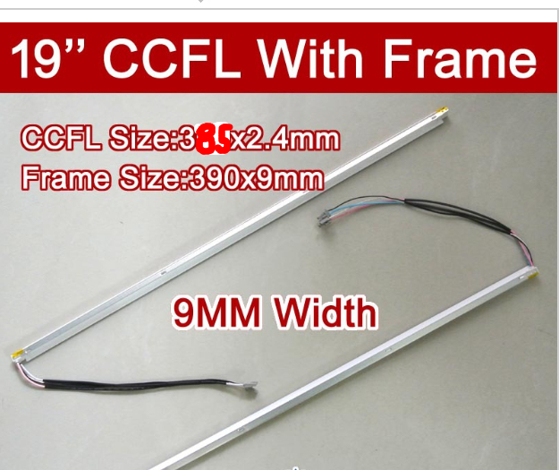 6PCS 19'' Inch Dual Lamps CCFL With Frame,LCD Monitor Lamp Backlight With Housing,CCFL With Cover,CCFL:385mm,FRAME:390mm X9mm