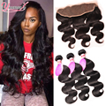 Peruvian Virgin Hair With Closure 7A Peruvian Body Wave 3 Bundles And Lace Frontal Full Frontal Lace Closure 13x4 With Bundles