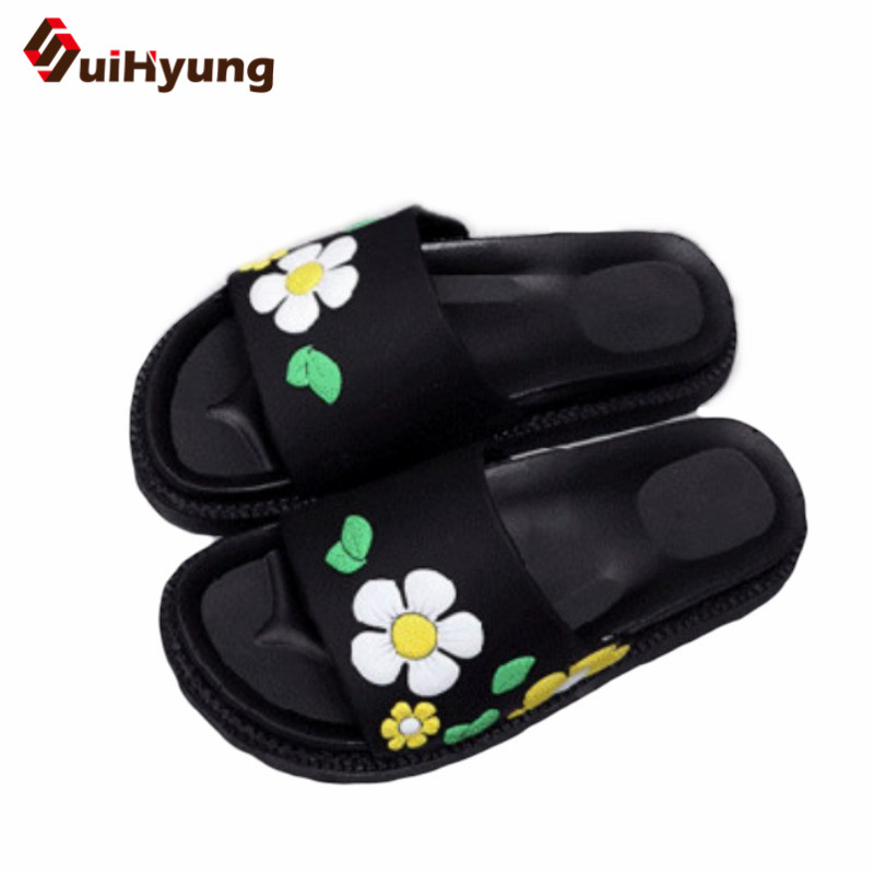 Suihyung New Summer Women's Slippers Soft Bottom Non-slip PVC Beach Slippers Flip Flops Female Flowers Sandals Bathroom Slippers suihyung design new women and men summer flat shoes hit color breathable hollow beach slippers flips non slip unisex sandals