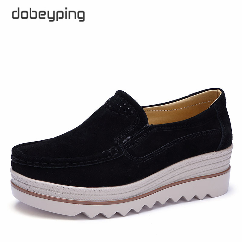 dobeyping New Spring Autumn Shoes Woman   Leather     Suede   Women Shoes Slip On Women's Loafers Moccasins Female Shoe Flat Platform