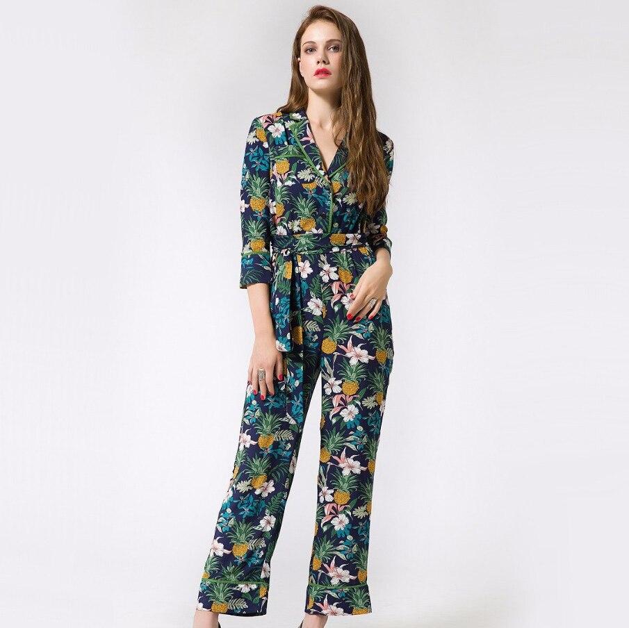 81409430b488 Womens pineapple print long pants jumpsuit elegant loose female jpg 905x904 Loose  romper