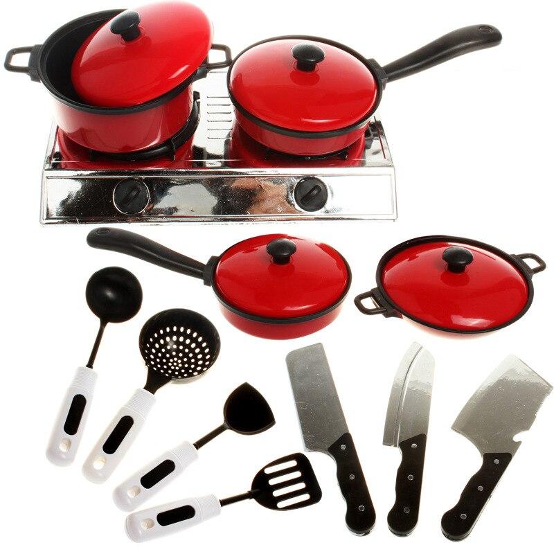 Детская весь набор Кухня игрушки с газовой плитой/горшок/панорамирования/шпатель, кухня посуда/Кухня посуда для детей Классические развива... ...