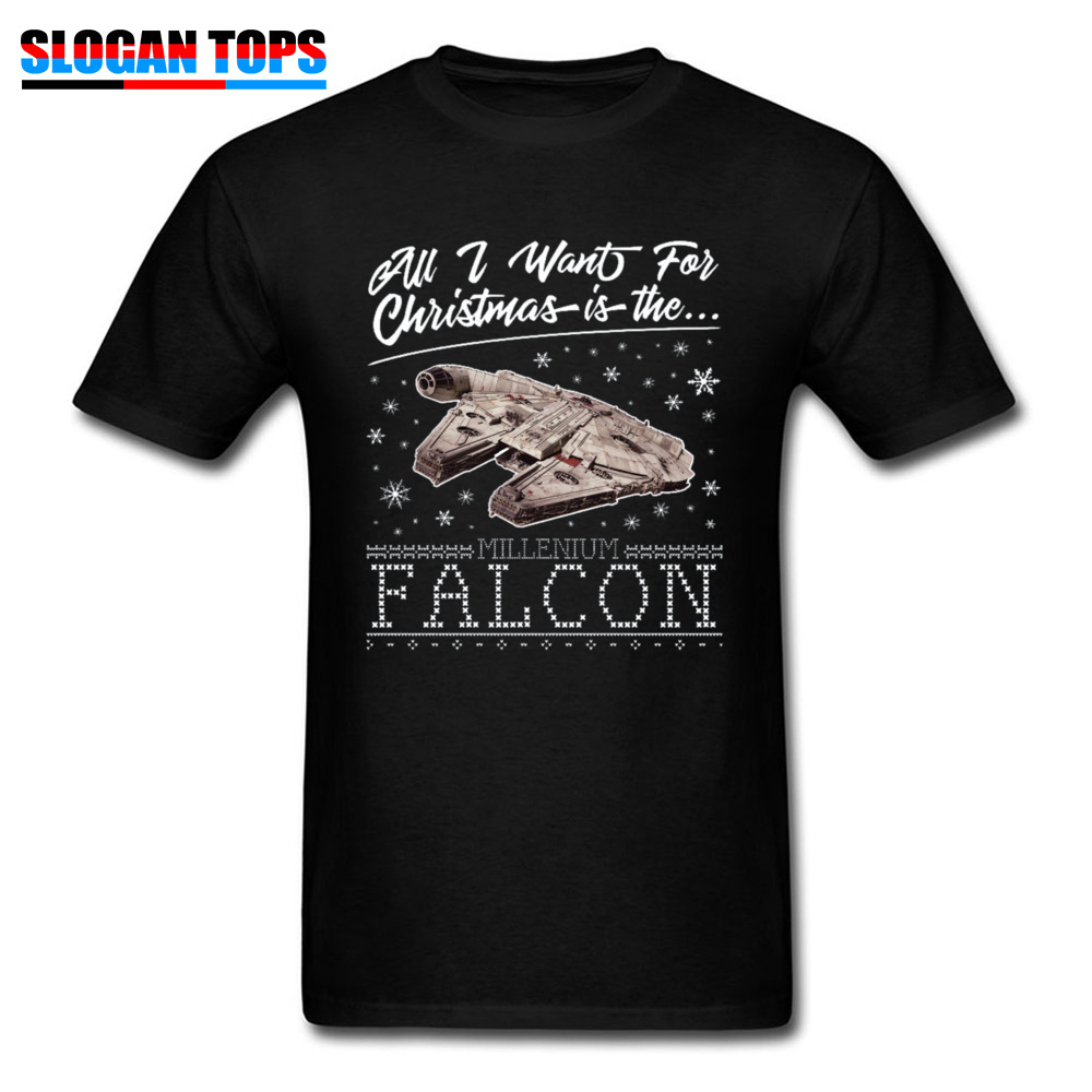 Xmas Gift T-shirt Men <font><b>Star</b></font> <font><b>Wars</b></font> Fans <font><b>Tshirt</b></font> Want <font><b>Christmas</b></font> Millennium Falcon Tops Chewbacca Military Han Solo Tee Shirt Cotton image
