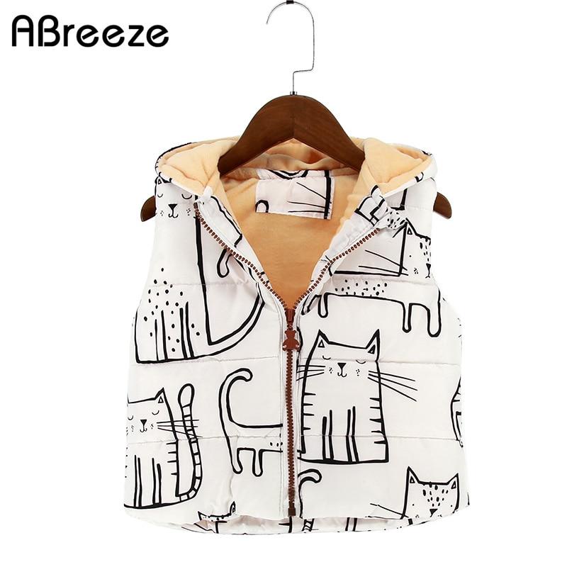 2017 New Autumn winter kids waistcoats European style girls hooded vest coats cut cat 1 7Y