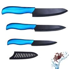 Venta caliente cuchillo de cerámica conjunto 4 pulgadas utility 5 pulgadas de corte y 6 pulgadas cuchillo cocinero con hoja negro + azul manejar cuchillos de cocina conjunto