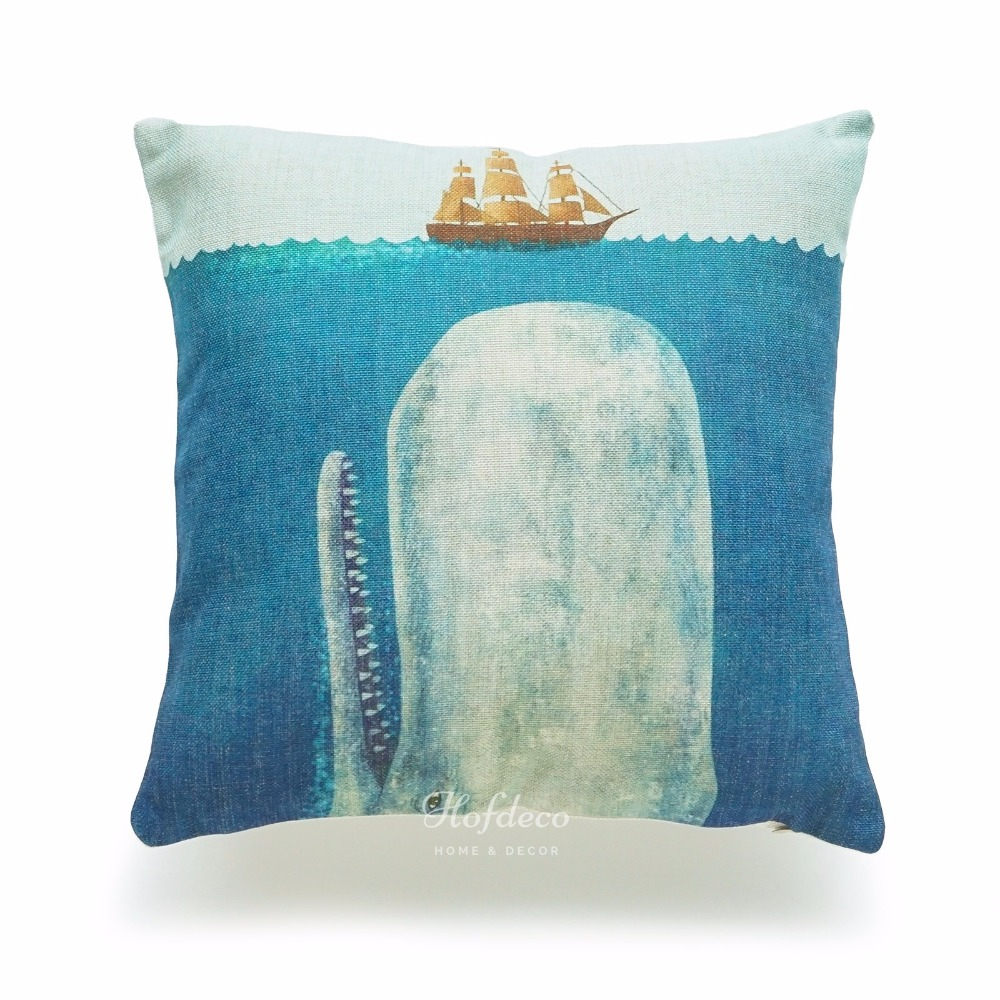 Throw Pillow White : Decorative Throw Pillow Case White Whale Moby Dick Ship Sea Nautical Cotton Linen HEAVY WEIGHT ...