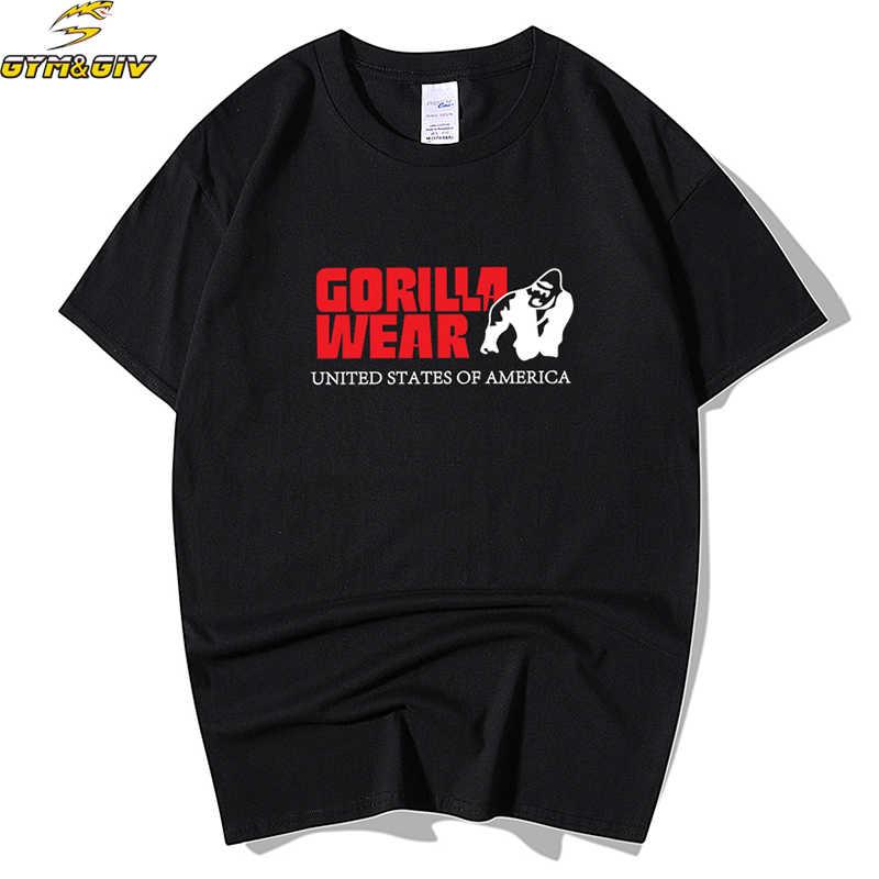 2018 новый модный бренд Для мужчин футболка футболки Gorilla, Одноцветный принт, Цвет Мышцы топы мужская, с короткими рукавами, прямой, свободный покрой, хлопок