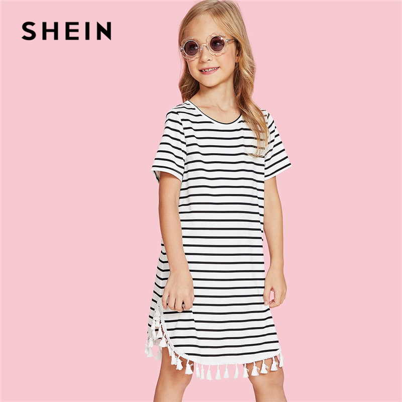 SHEIN Girls Black And White Striped Tassel Hem Casual Dress Children Dresses 2019 Spring Korean Short Sleeve Fringe Kids Dresses ruffle strap and hem striped dress