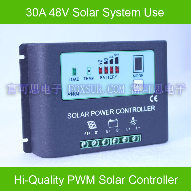 30A PWM  Solar Panel Charge Controller 48V with LED indicate the batttery Capacity Off Grid PV Controller Solar Aluminum housing