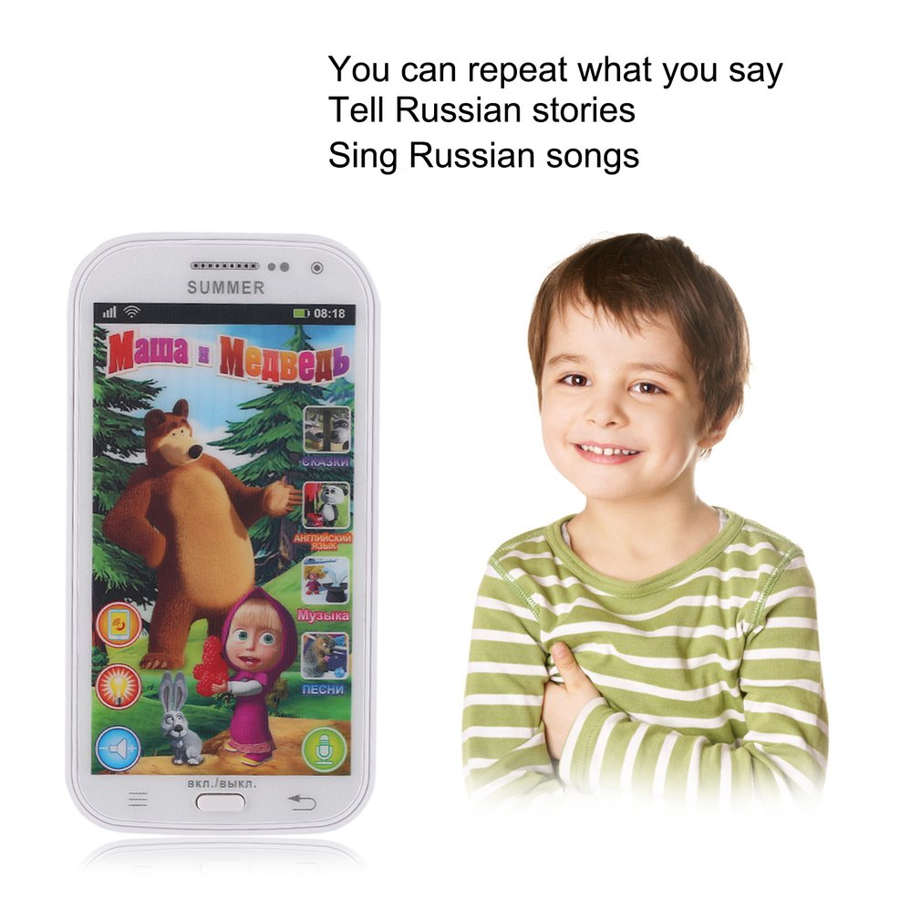 Multifunction Baby Mobile Phone Simulator Music Phone Touch Screen Children  Toy Learning & Education Model Russian Language