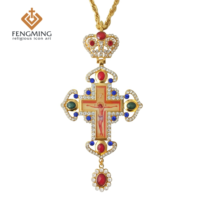 Us 359 Pectoral Cross Orthodox Jesus Crucifix Pendants Plated Gold Rhinestones Chain Religious Jewelry Pastor Craft Supplies In Church Souvenirs