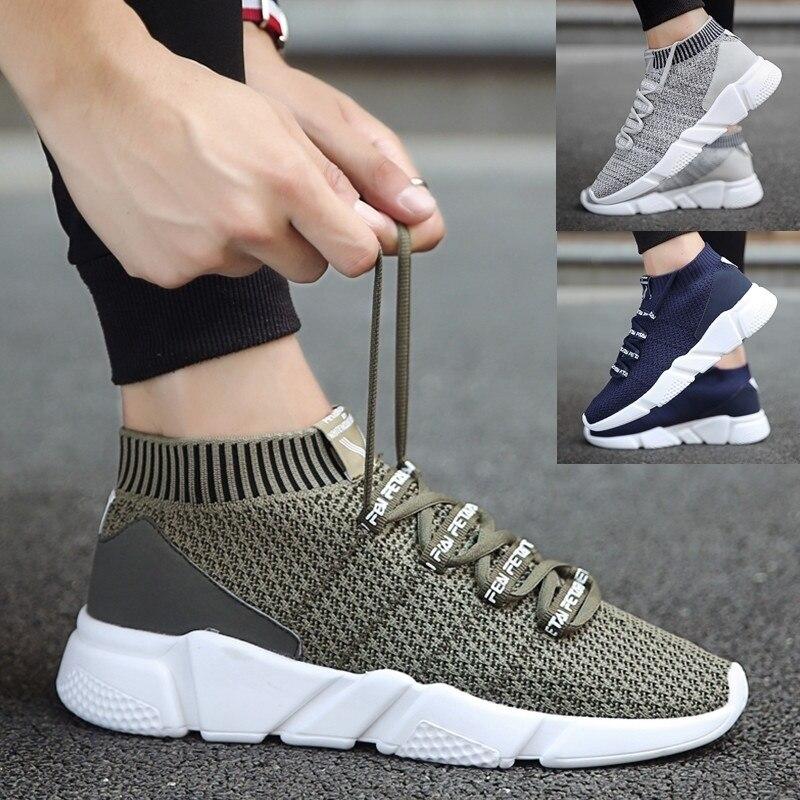 707bec223 Homens Sapatos Sneakers Moda Masculina Sapatos Casuais Respirável Zapatos  Hombre Confortáveis Lace-up Masculino Tênis Para Tamanho Adulto 39 -46