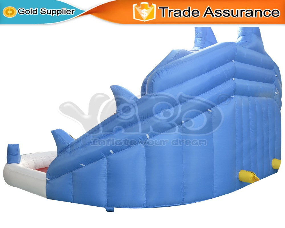 yard shark inflatable slide with cannons outdoor water park