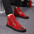 Hot 2017 Fall Winter men's casual comfortable fur ankle boot zipper Rivets fashion high top high quality flats black red