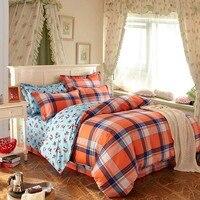Nueva tela escocesa juego de cama 100% algodón funda nórdica reina king size edredón colcha hoja de ropa de cama colcha cubierta colcha funda de almohada