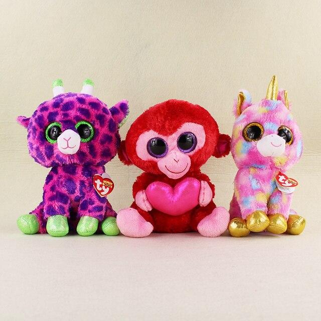 Large 25CM Kawaii TY Beanie Boos Big Eyes Monkey Unicorn Sika deer Bambi  Plush Stuffed Animals Toys Dolls For Kids Gifts 90efc1c4db1