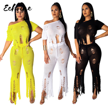 Echoine Women Knitted Hole Sexy 2 Piece Set Women Cut Out Tassel Sweater Short Sleeve Crop Top Wide Leg Fashion Tracksuit Outfit cut out crop top