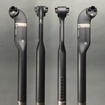 TOSEEK 3K матовое/глянцевое полностью углеродное волокно дорожный MTB велосипедный Подседельный штырь 27,2/30,8/31,6x400 мм offest 25 градусов