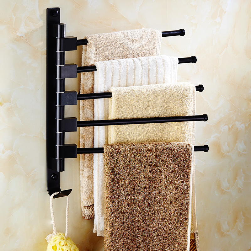Bathroom Accessories Antique Black Activity Towel Bar Towel Rack Space Aluminum Bathroom Pendant Rotary Towel Hanging