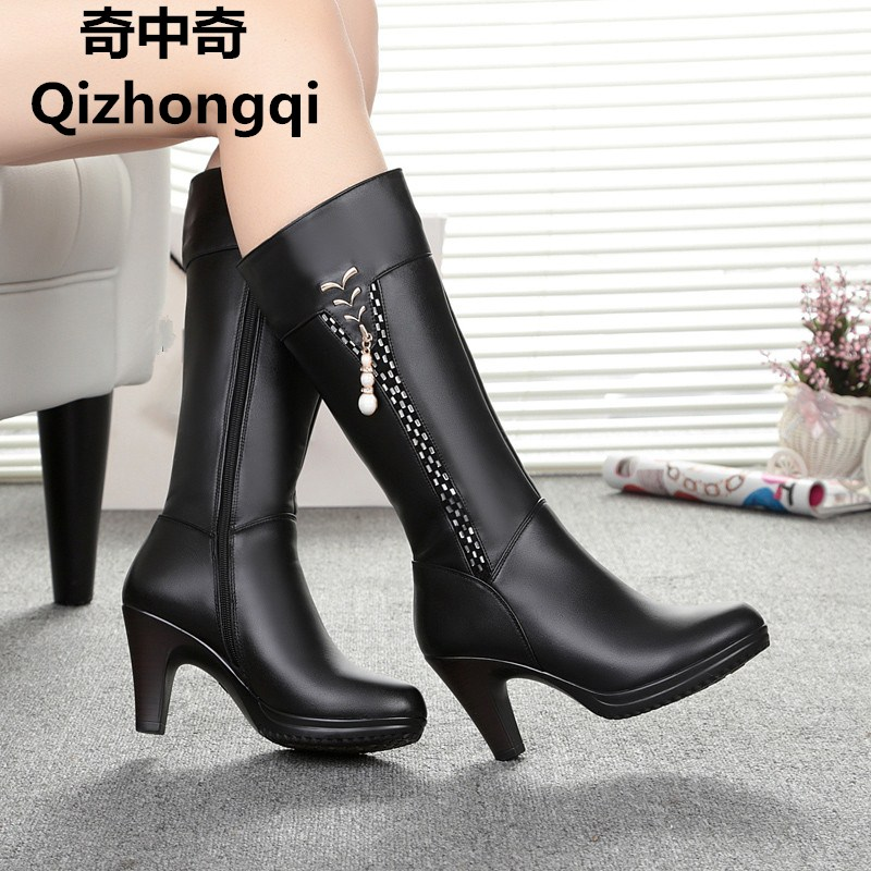 2017 Winter Women s Genuine Leather High heeled Boots Wool Lined Boots Fashion High Quality Motorcycle