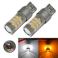 2 UNIDS T20 7443 36SMD Del Coche LED Dual Color Blanco Frío/ámbar LED Switchback Señal de Vuelta Luz de la Cola del Freno Luces de Bulbos 12 V