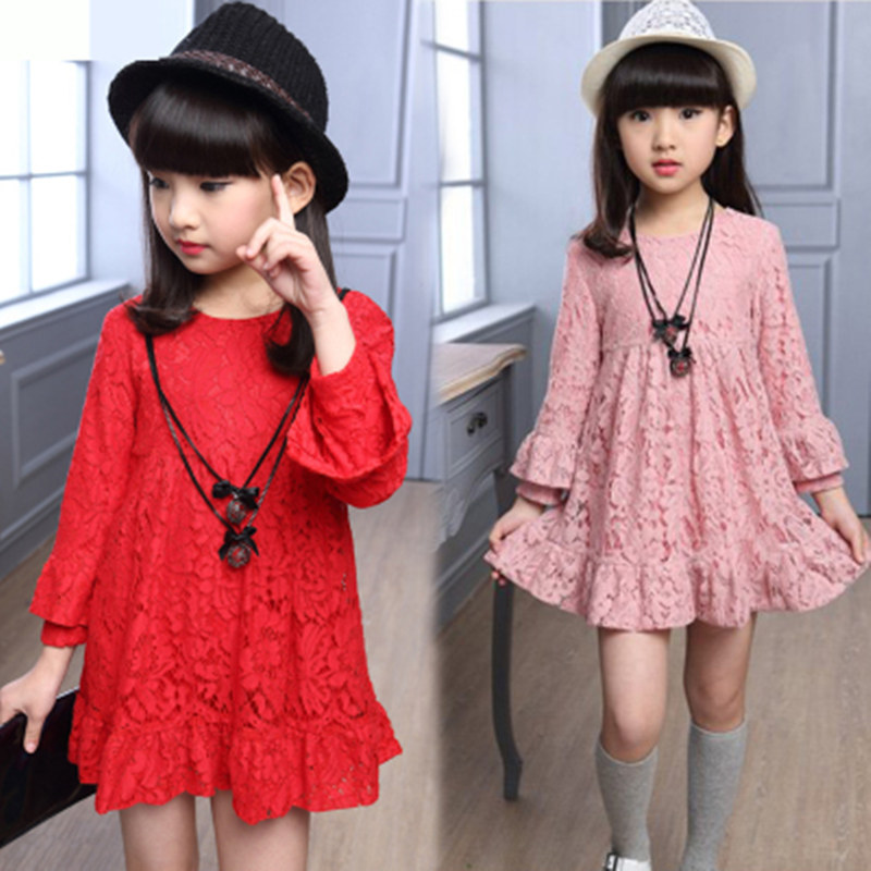 Kids Red Pink Antumn Girl Lace Dress Clothes Kids Dresses For Teenage Girls Princess Party Wedding Long Sleeve Baby Girl Dress toddler girl dresses chinese new year lace embroidery flowers long sleeve baby girl clothes a line red dress for party spring