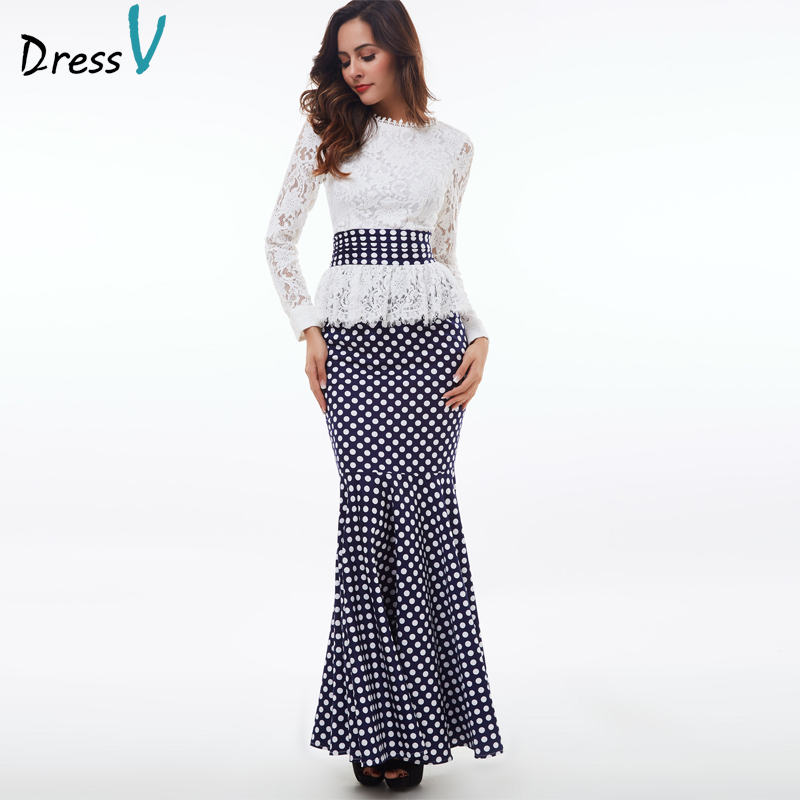 Dressv 2019 Polka Dot mermaid   evening     dress   white long sleeves scoop neck lace trumpet   evening     dress   formal party prom   dress