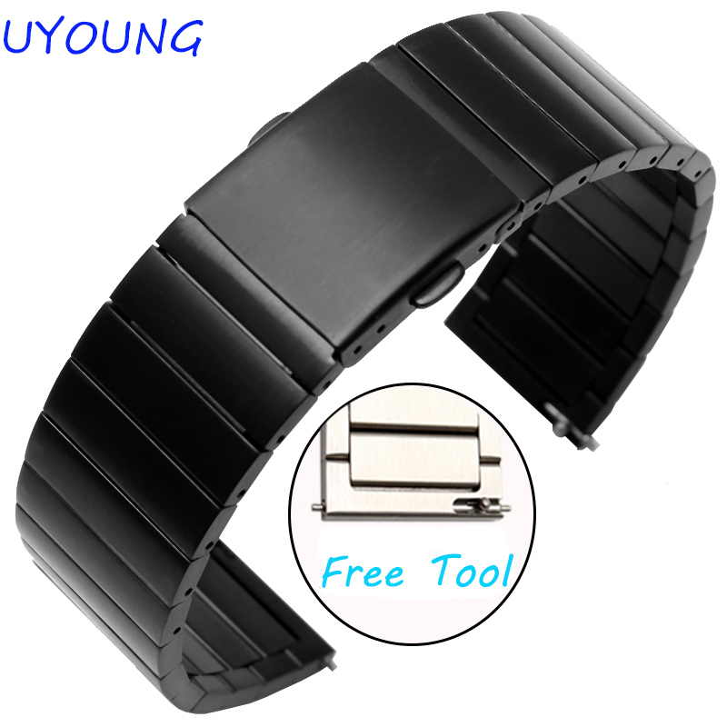 UYOUNG Watchband 20mm 22mm 23mm Black New Mens Black Metal Watch Band Stainless Steel Bracelets For Smart Watch With Tool new men black gold silver metal watch band stainless steel bracelets for sports watch smart watch for gramin fenix 3